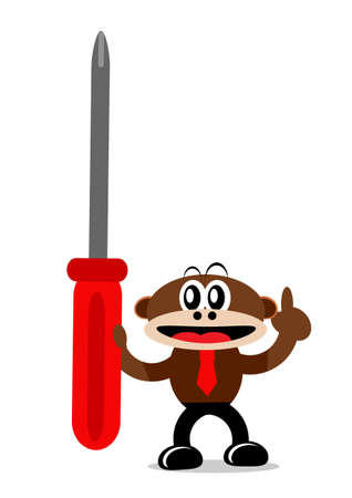 Illustration Vector Graphic Cartoon Character of Monkey in Business Themes Stock Vector - 21912209