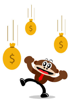 passive earnings: Illustration Vector Graphic Cartoon Character of Monkey in Business Themes Illustration