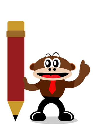 Illustration Vector Graphic Cartoon Character of Monkey in Business Themes Stock Vector - 21912220