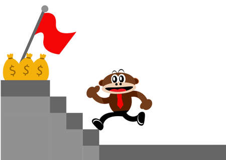 Illustration Vector Graphic Cartoon Character of Monkey in Business Themes Illustration