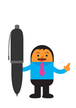 copywriter: illustration vector graphic cartoon character of businessman in activity Illustration