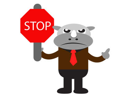 illutration cartoon character of Rhino Businessman in activity Stock Vector - 22402229