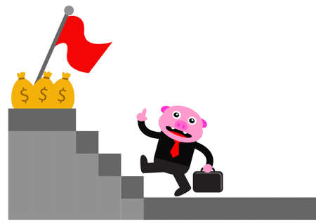 illustration graphic of piggy in business activity Vector
