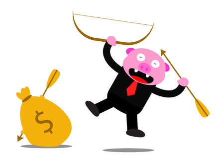 illustration graphic of piggy in business activity Stock Vector - 22402795