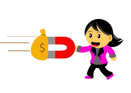 pulling money: Illustration of Chibi Woman Cartoon Character in Activity