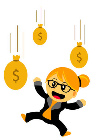 windfall: Illustration of Chibi Woman Cartoon Character in Activity