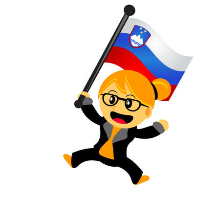 illustrasion vector graphic of cartoon woman  girl bring a country flag Illustration