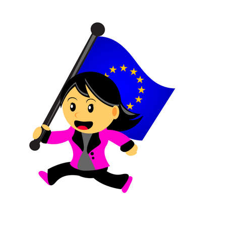 council: illustrasion vector graphic of cartoon woman  girl bring a country flag Illustration