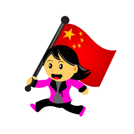 illustrasion vector graphic of cartoon woman  girl bring a country flag Vector