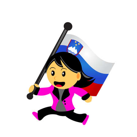 slovenian: illustrasion vector graphic of cartoon woman  girl bring a country flag Illustration