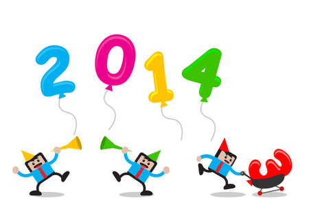 illustration vector graphic cartoon character with new year 2014 themes Stock Vector - 23552426