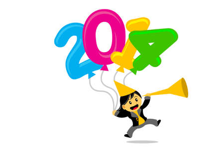 illustration vector graphic cartoon character with new year 2014 themes Vector