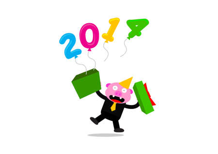 illustration vetor graphic of new year themes 2014 cartoon character Vector