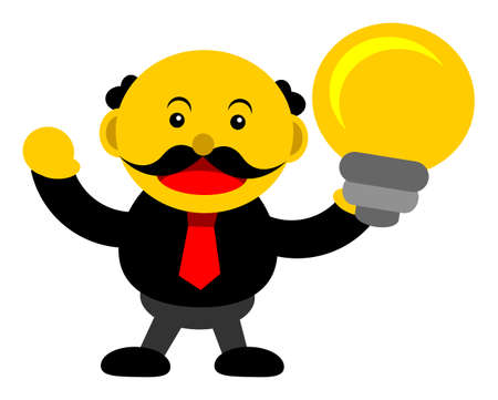innovator: illustration vector graphic cartoon character of businessman in activity Illustration