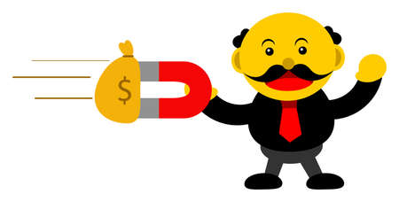 passive earnings: illustration vector graphic cartoon character of businessman in activity Illustration