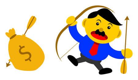 smart goals: illustration vector graphic cartoon character of businessman in activity Illustration