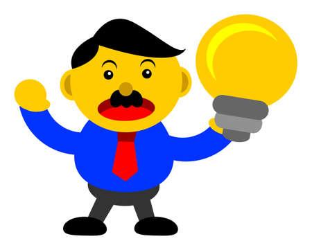 innovator: illustration vector graphic cartoon character of businessman in activity Illustration