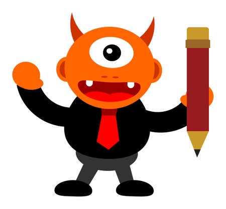 copywriter: illustration of monster cartoon character in business activity