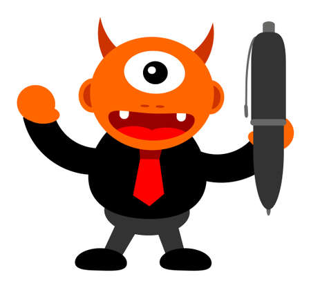 illustration of monster cartoon character in business activity Stock Vector - 24814214
