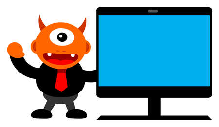 illustration of monster cartoon character in business activity Vector