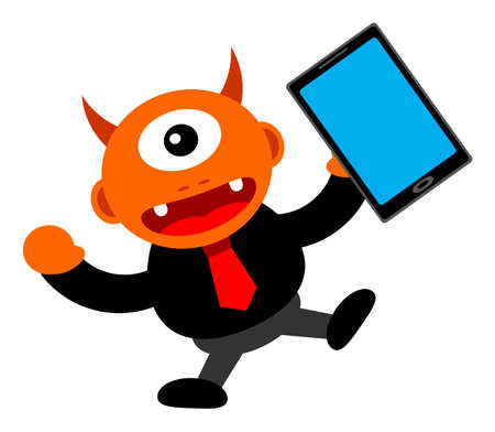 illustration of monster cartoon character in business activity Stock Vector - 24814215