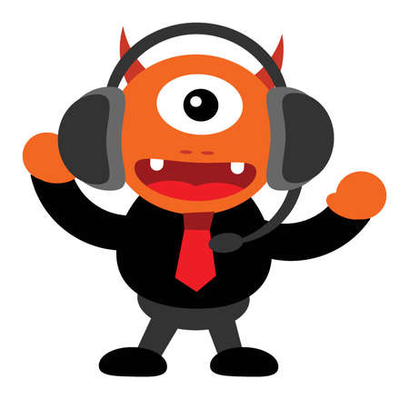 costumer: illustration of monster cartoon character in business activity