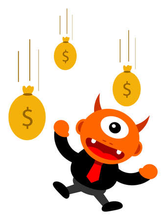 illustration of monster cartoon character in business activity Stock Vector - 24814236