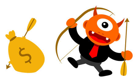 passive earnings: illustration of monster cartoon character in business activity