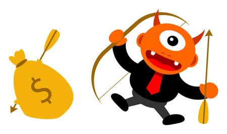 motivator: illustration of monster cartoon character in business activity