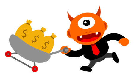 illustration of monster cartoon character in business activity Stock Vector - 24814241
