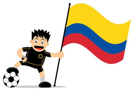 bandera de colombia: ilustración vectorial carácter gráfico de la historieta del jugador de fútbol