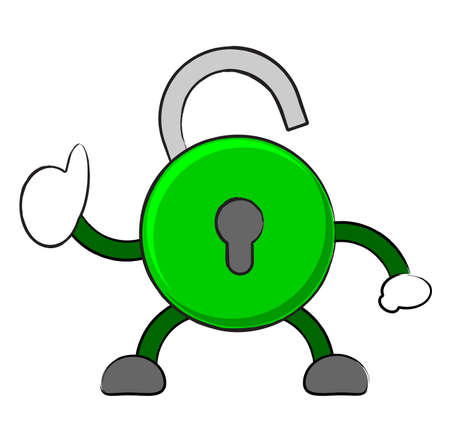 illustration vector graphic cartoon character of unlock icon Vector