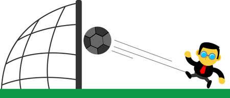 smart goals: cartoon character of businessman kicking a ball Illustration