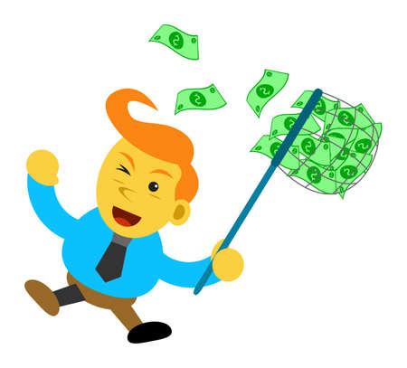 passive earnings: cartoon character of businessman