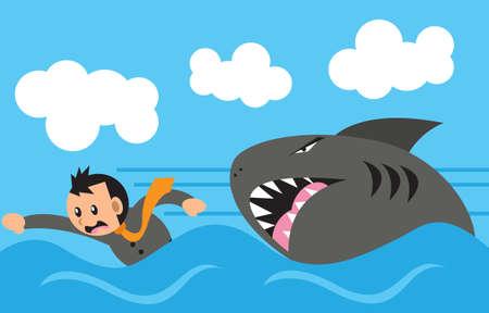 chased: swimming meet shark Illustration
