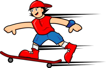 skater boy: Skateboarder Boy Illustration