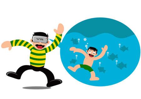 Illustrations-Vektor-Grafik-Cartoon-Charakter des Jungen tragen VR-Gerät