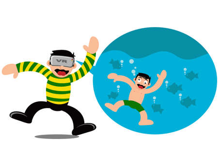 Illustration Vector Graphic Cartoon Character of Boy Wear VR Device