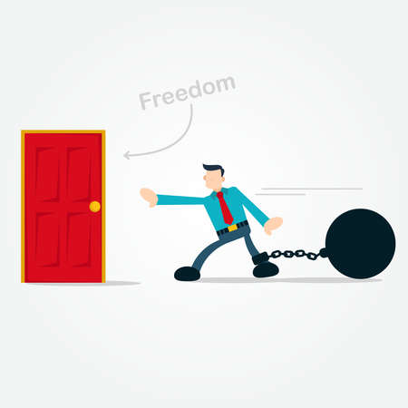 Businessman Walking Hardly to Freedom Door