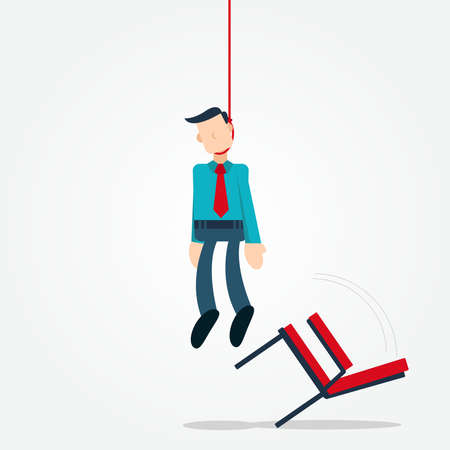 Illustration vector graphic cartoon character of businessman hang himself