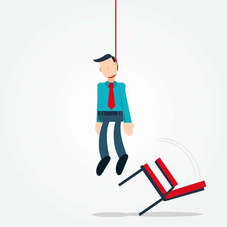 Ilustración vectorial personaje de dibujos animados gráficos del empresario ahorcarse a sí mismo