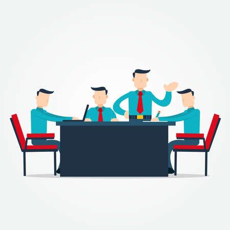 Gráfico de vector de ilustración del empresario de intercambio de ideas