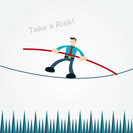 businessman crossing a dangerous abyss