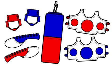 Illustration vector graphic set of Taekwondo equipment. Good for taekwondo club, communtity graphic asset, etc. Illustration