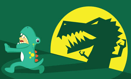 Illustration vector graphic of boy cartoon character wear dinosaur costume, afraid, fear and running from his own shadow. Good for children and educational product. Stock Illustratie