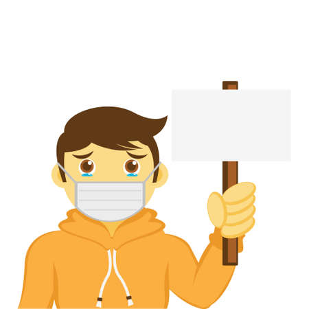 Illustration vector graphic cartoon character of boy wear masker holding a blank sign. Looks like worry about virus.