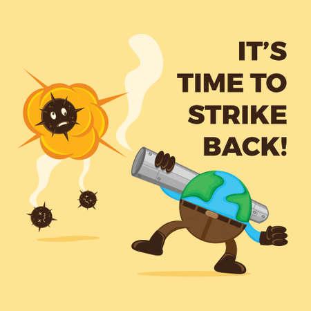 Illustration vector graphic cartoon character of earth strike covid-19 use Bazooka. Good to use for t-shirt design. Vektorgrafik
