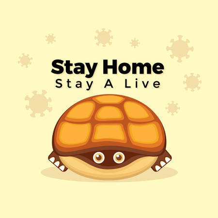 Illustration vector graphic cartoon character of turtle stay at home to avoid corona virus. Good to place on healthcare and medical content.
