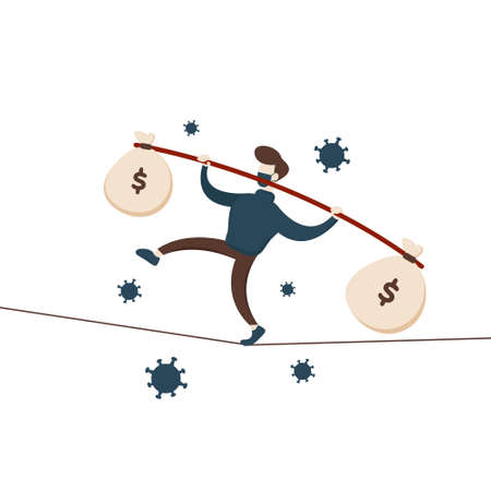 Keep Balance in Business During Pandemic. Flat illustration vector graphic cartoon character of businessman bring money walking on the rope.
