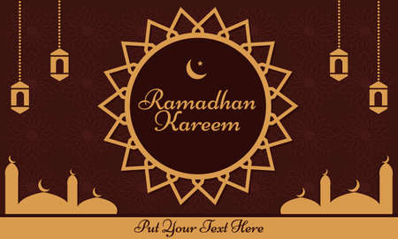 Illustration vector graphic of Ramadhan Background. Suitable for Moslem product.